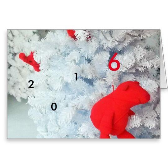 Red #Teddy Bear in #Christmas Tree 2016 Greeting #Card #MostPopular
