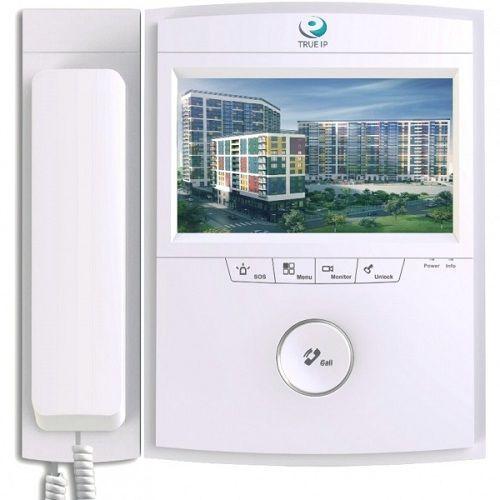 """True IP Systems TI-2720S-H TI-2720S-H IP-монитор TRUE-IP TI-2720S-H оборудован 7"""" дисплеем резистивного типа с разрешением 800х480 точек и аудиотрубкой, которую можно закрепить отдельно от экрана. Для быстрого управления имеются 5 механических клавиш. Устройство обеспечивает прием вызова и двухстороннюю связь с IP вызывными панелями, другими IP-мониторами (интерком) или пультом консьержа. Модель может осуществлять запись аудио, фото и видео с IP вызывной панели или подключенных IP-камер на…"""