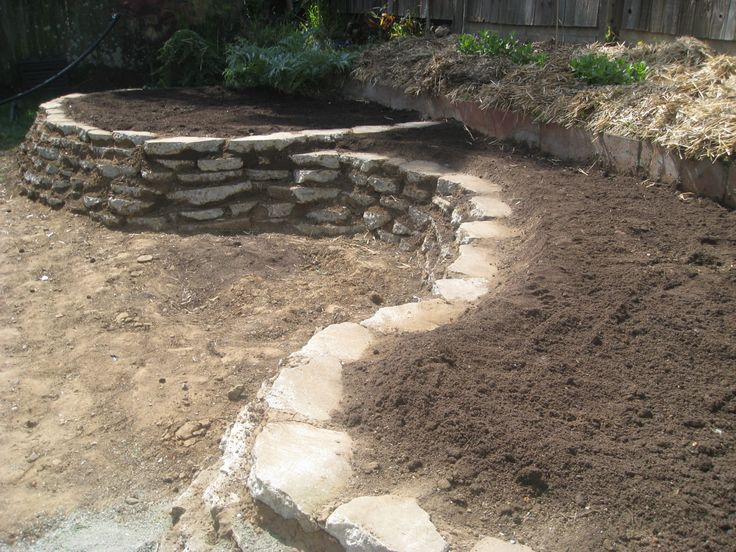 'Urbanite' (Reused broken concrete 'stones') utilized to make retaining walls for deep and wide planting serpentine beds. (WildHeart Gardens, Berkeley CA)
