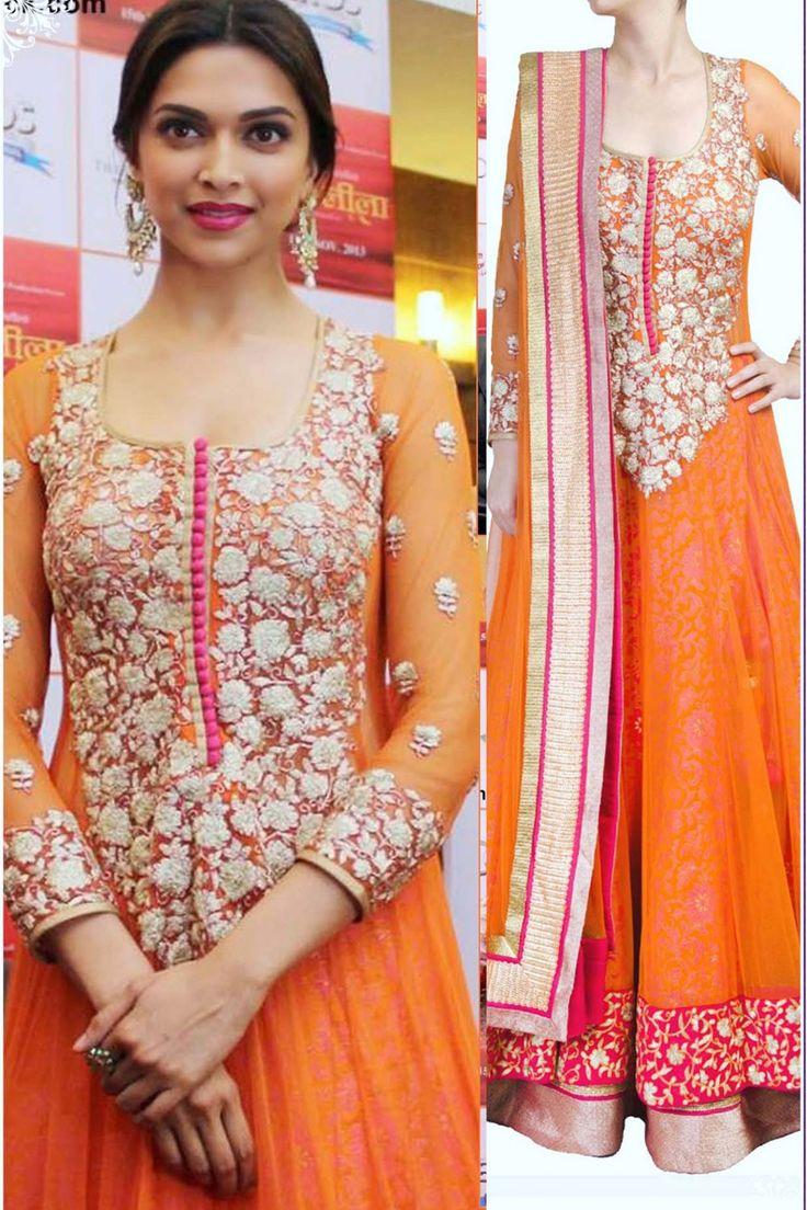 Buy Online Khantil Deepika Padukone Orange Anarkali Suit At Promotes Ramleela at Best Price in India