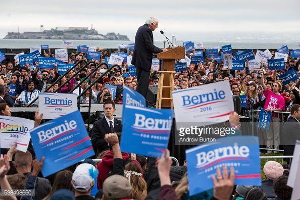 Democratic presidential candidate Senator Bernie Sanders speaks at a rally at the Presidio on June 6, 2016 in San Francisco, California. California's primary will be held tomorrow.