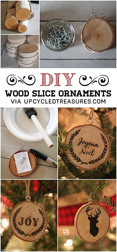 DIY Wood Slice Christmas Ornaments… So cute! #christmas
