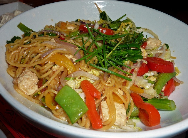 Pan-Asian Noodles - Asian egg noodles with sliced chicken, pineapple ...