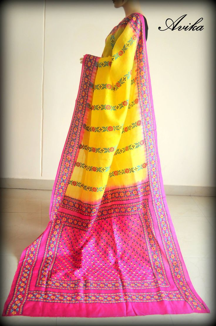 A batik tie dyed Tussar silk saree with Kantha stitch
