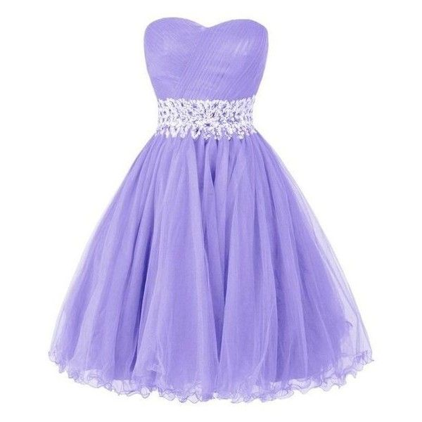 Ellames Sweetheart Homecoming Beading Short Prom Dresses Ball Gown ❤ liked on Polyvore featuring dresses, gowns, purple gown, purple dress, beaded evening gowns, purple prom dresses and short evening dresses