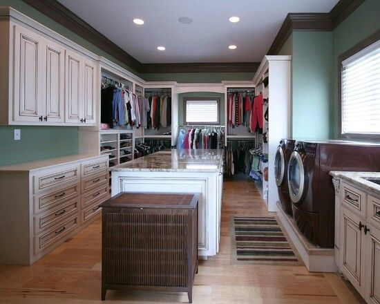 Laundry room/closet. One big master closet and laundry room! Awesome! | Washer Odor? | Smelly Towels? | Stinky Clean Laundry? | http://WasherFan.com | Permanently Eliminate or Prevent Washer & Laundry Odor with Washer Fan™ Breeze™ |#Laundry #WasherOdor