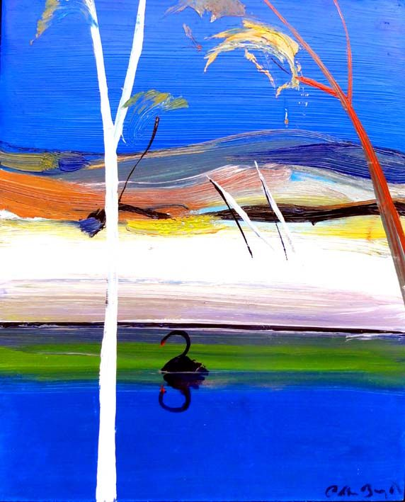 """Shoalhaven river with black swan"" by Arthur Boyd. Oil on board."