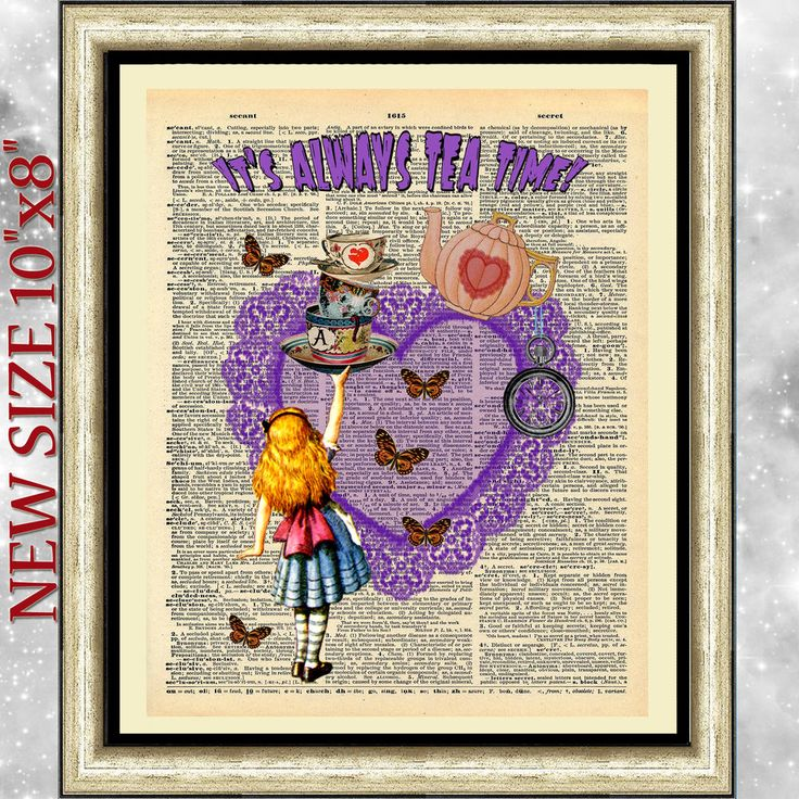 Original art print on dictionary book page Alice in Wonderland purple heart gift