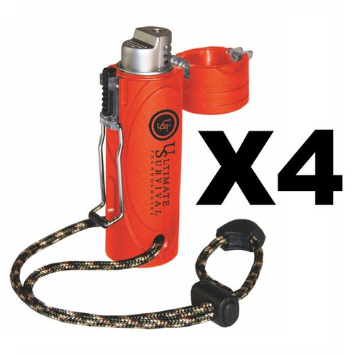 Ultimate Survival Technologies Trekker Stormproof Lighter, Orange (4-Pack)