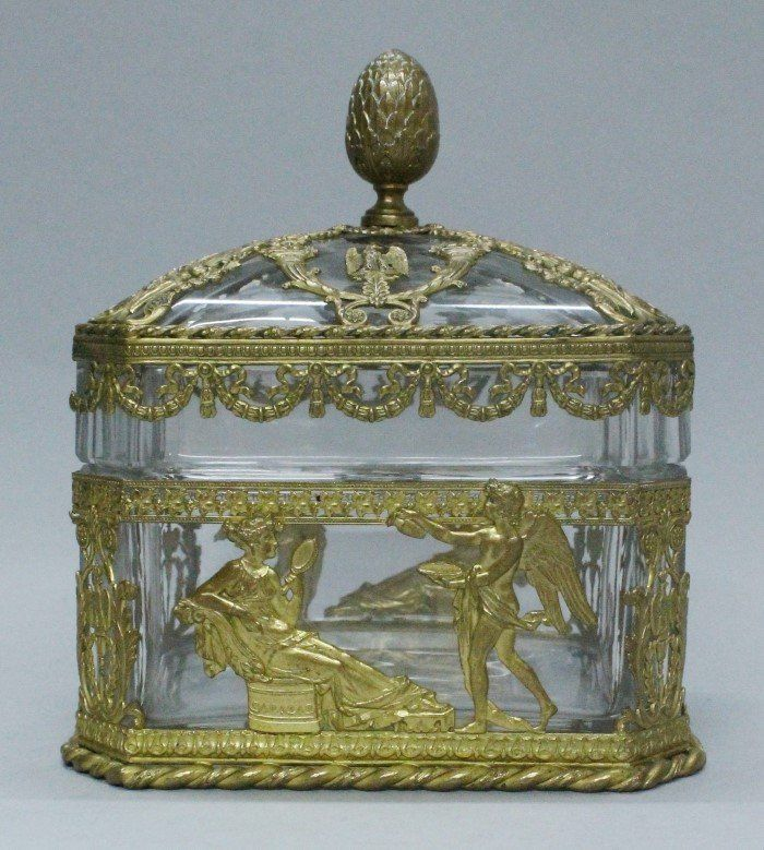 ANTIQUE BACCARAT STYLE CUT GLASS AND ORMOLU BOX