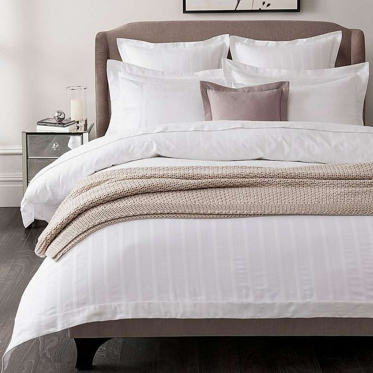 Hotel White Herringbone 300 Thread Count Bed Linen Collection | Dunelm