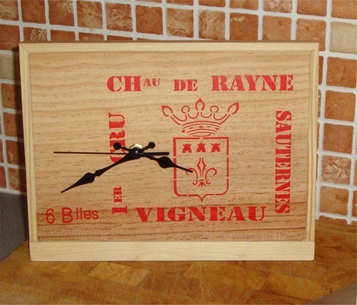 "Original handmade freestanding wine box clock 10"" x 7 3/4"" (255 x 200mm) by FrameFocus on Etsy"