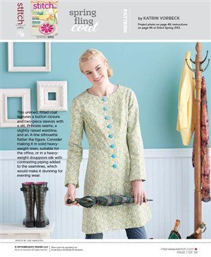 Free Coat Pattern to download - from STITCH MAGAZINE