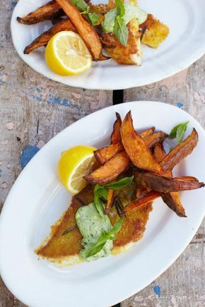pouting fish fingers, sweet potato chips & cheat's basil mayo | Jamie Oliver | Food | Jamie Oliver (UK)