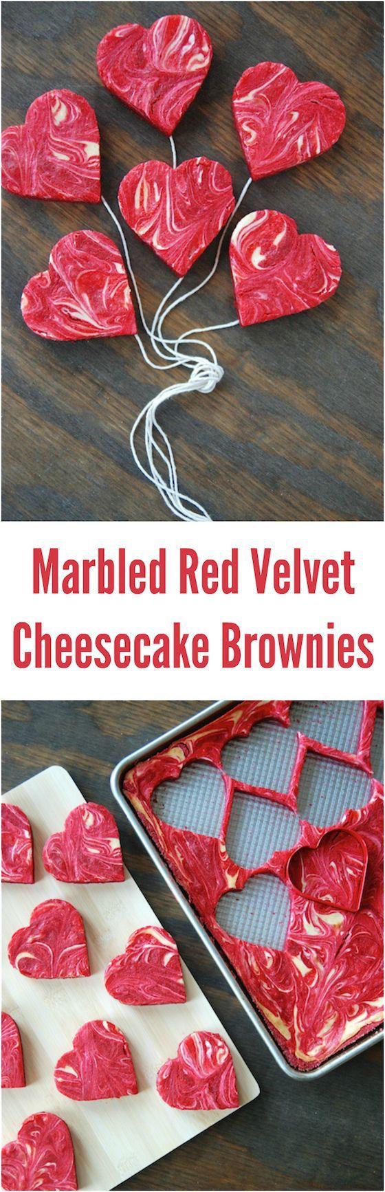 Marbled Red Velvet Cheesecake Brownies! Perfect Valentine's Day dessert!