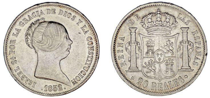 20 SILVER REALES/PLATA. ISABELLA II-ISABEL II. MADRID 1852. VF+/ MBC+. ATRACTIVA