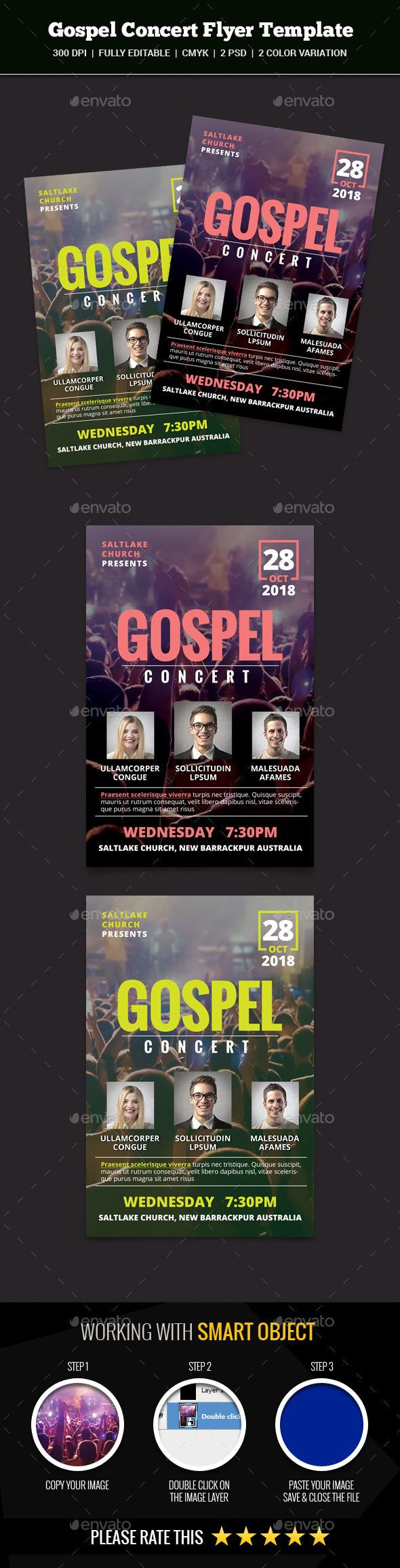 Gospel Concert Flyer by abira This is a Gospel Concert Flyer Template Which is fully editablePack included: 2 PSD Files 6.25 x 4.25 inches.(0.25 bleed area.) 30