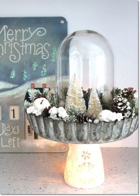 Easy DIY Pie Tin and Bottle Brush Tree Centerpiece. DagmarBleasdale.com #Christmas #bottlebrush #tree #DIY #cloche #centerpiece #crafts #winter #handmade