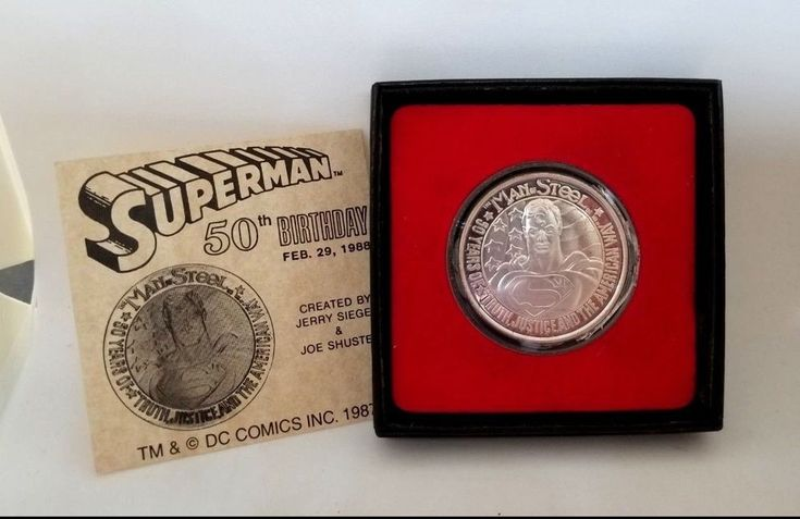 SUPERMAN 1 TROY OUNCE FINE SILVER MEDALLION COIN 50TH BIRTHDAY COMMEMORATIVE