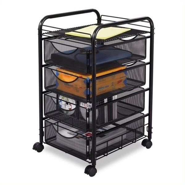 Safco Onyx Mesh File Cart with 4 Drawers ($86) ❤ liked on Polyvore featuring home, furniture, storage & shelves, file cabinets, black, safco file cart, mesh file cart, 4 drawer storage cart, black filing cabinet and four drawer locking file cabinet