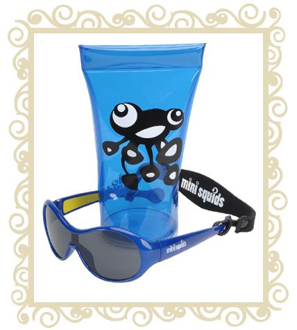 On sale! http://www.buttonbaby.com.au/mini-squids-sunglasses-dark-blue-p-1853.html  Mini Squids are an Australian designed aquatic range of sunglasses for babies and toddlers aged 6 months to 3 years. They are designed to wrap snugly around small faces and provide maximum protection for little peepers.Dimensions:10.5cm (Front) x 10.0cm (Temple) x 3.6cm (Lens).Mini SQUIDS Sunglasses features:  *  Mini SQUIDS provide 100% UV protection (UV 400) and comply with the Australian Standards AS/NZS