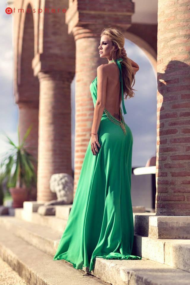 Rochie lunga verde cu spate gol by Marina Dina R 818 Atmosphere Fashion http://www.atmospherefashion.ro/rochie-lunga-verde-cu-spate-gol-by-marina-dina-r-818-p641-t4.html