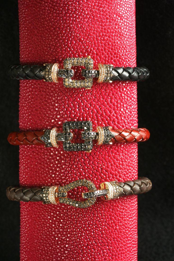 K18 blackdiamond mens bracelet #ring #mens ring #bracelet #blackdiamond #k18 #leather #cool #nice #diamond #ブレスレット #メンズ #レザー
