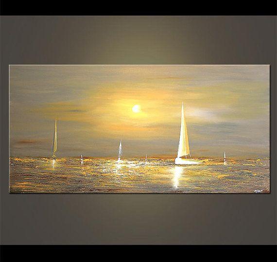 48 x 24 graue Segelboot Malerei abstrakte Seascape Original
