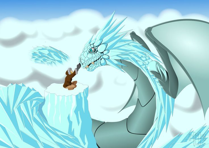 Ice dragon. Made of ice.