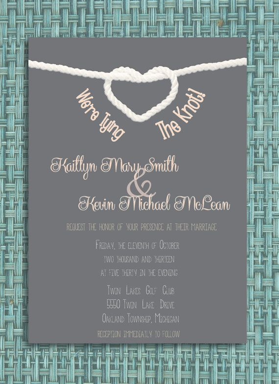 Maybe With Actual Rope Tied At The Top? Different Colour Maybe. Tying The  Knot Wedding Invitation DIY Printable Invitation.