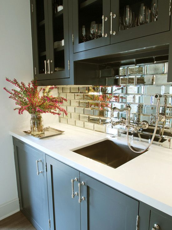 Interesting Small Beveled Mirror Tiles: Contemporary Kitchen Beveled Mirror Tiles Serve As A Statement Making Backsplash While Dark Plus Moody Cabinets In Cheating Heart ~ aureasf.com Decorating Inspiration