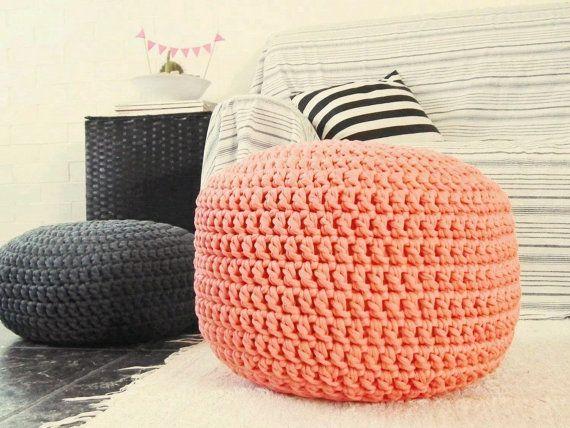 Coral Peach Ottoman Nursery Footstool  Peach by LoopingHome, €65.00
