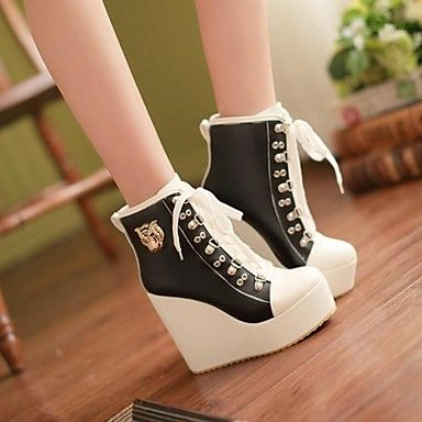 Women's Shoes Round Toe Wedge Heel Ankle Boots with Lace-up More Colors available – USD $ 32.99