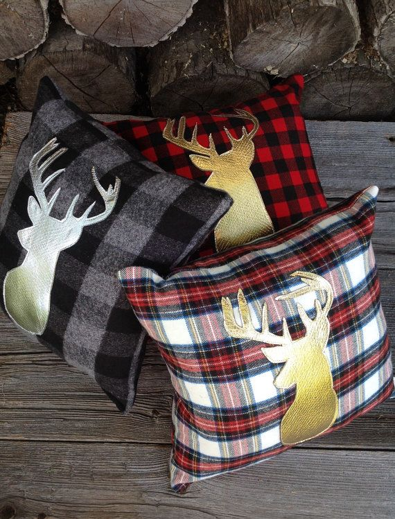 Deer Pillow, Decorative Pillow, Gifts Under 25, Nursery Decor, Gold Pillow, Throw Pillow, Woodland Pillow, Rustic Lodge, Holiday Pillow