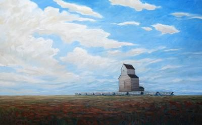 """Steve Coffey - Last Man Standing Series - Fields and Elevator 30 x 48"""" oil/canvas 
