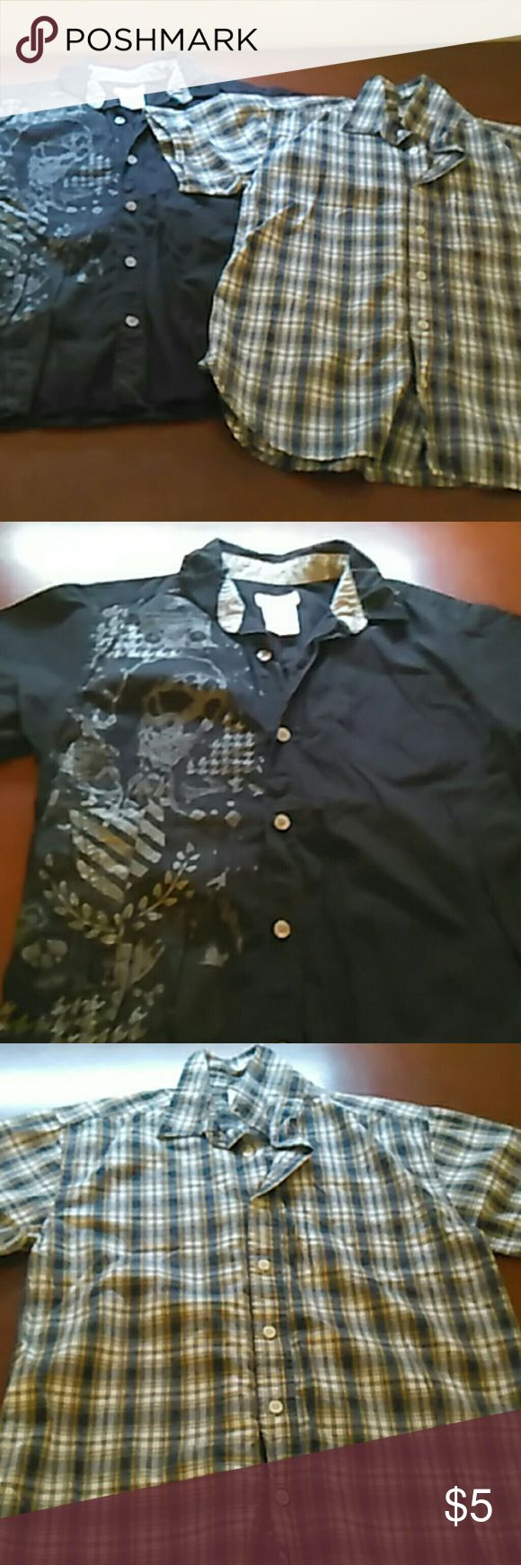 Bundle of 2 boys short sleeve dress shirts Black with skeleton route 66 size 10/12 boys dress shirt, and a plaid old Navy boy's size 12 dress shirt Shirts & Tops