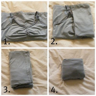 How to Fold Camisoles: 1. Fold straps and chest area up   2&3. Fold into thirds   4.Fold bottom half up.