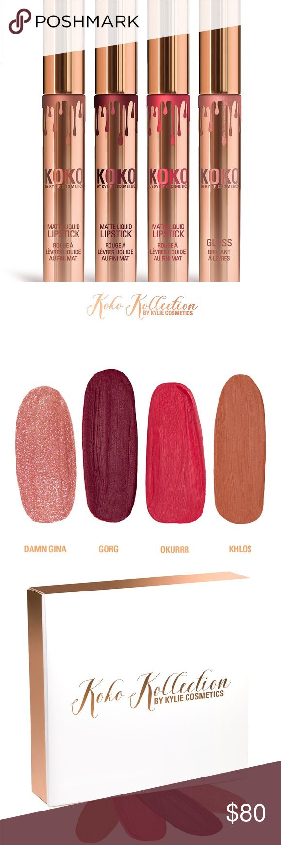 Authentic Koko Kollection NIB NWT Authentic Koko Kollection lipsticks & gloss collection by Kylie Jenner and Khloe Kardashian  Will ship out same day they are received  Open to offers  No trades Please Discount on bundles   Set includes 3 Matte Liquid Lipsticks: Okurrr, Gorg, and Khlo$ 1 Gloss: Damn Gina Kylie Cosmetics Makeup Lipstick