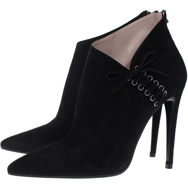 Miu Miu Black Suede Pointed Ankle Boots Size 39 ❤ liked on Polyvore featuring shoes, boots, ankle booties, black suede ankle booties, black ankle boots, pointed toe booties, pointy-toe boots and black booties