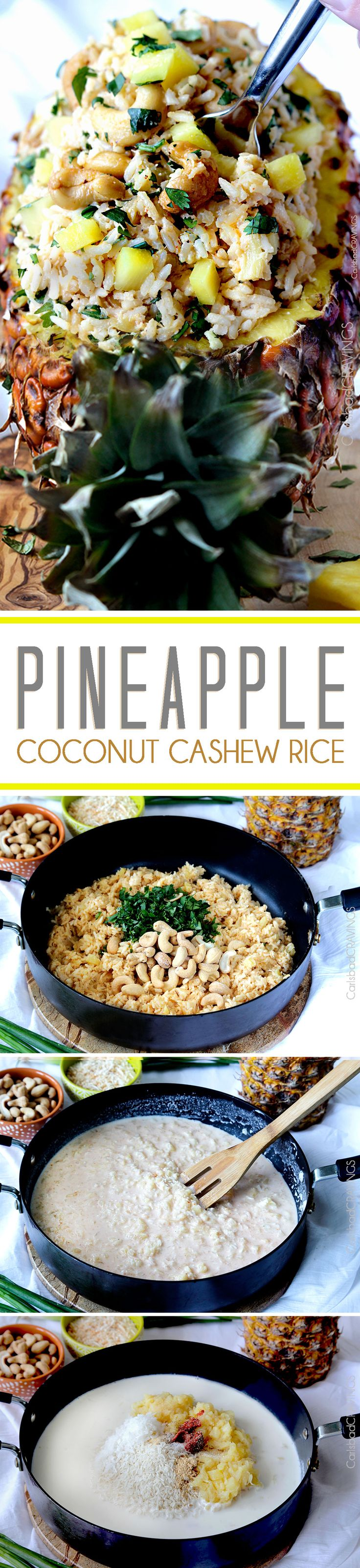 Sweet, slightly creamy Hawaiian Pineapple Coconut Cashew Rice COOKED IN pineapple juice, crushed pineapple and coconut milk, brightened by cilantro, lime and roasted cashews – HEAVENLY! An easy side for any main dish and impressive enough for company. #pineapplerice #coconutrice #Hawaiianrice #cilantrolimerice