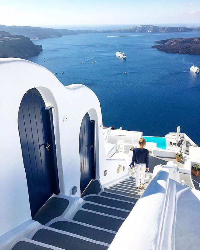 White and blues Santorini Greece. Photo by @i_a_yves