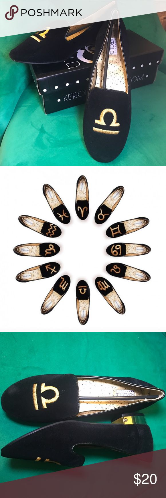 """$20 BOGO ♎️ Libra ♎️ Zodiac Velvet Flats What do Gwenyth Paltrow, Kate Winslet and YOU all have in common? They all were born as a Libra! Show everyone how balanced you are with these awesome new flats. New in Box! Euro Sz. 40, but they run small & fit like an 9-9.5. I wouldn't recommend these for narrow feet. Any items labeled """"BOGO $20 😵"""" are part of my Buy One, Get One Free Closet Sale. Simply bundle two $20 items and offer $20 - I will accept! That's two items for the price of one 💕…"""