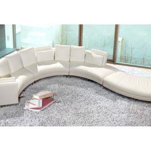 Circular White Leather Sofa