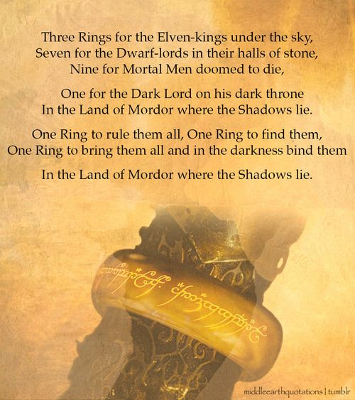 One right to rule them all. One ring to find them. One ring to bring them all and in the darkness bind them.