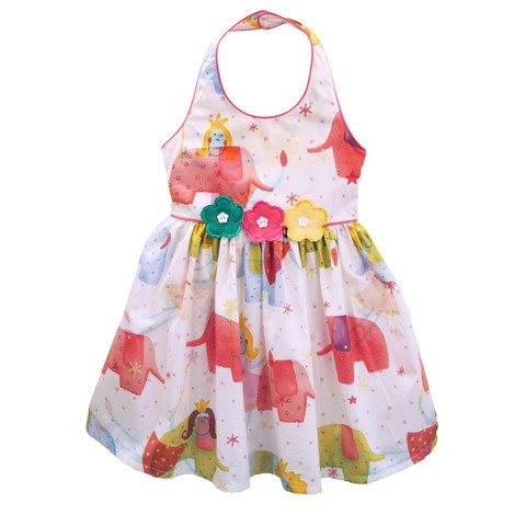 little girls heaven dresses by designer Tracey Kociuruba    girls party dress - elephant print