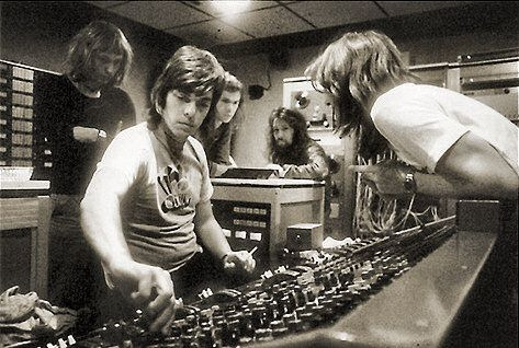 "Alan Parsons and Pink Floyd at Abbey Road studios, 1972 mixing ""Dark Side of the Moon."""