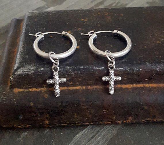 Dainty DIAMOND Cross Earrings Small Cross Hoop Earrings