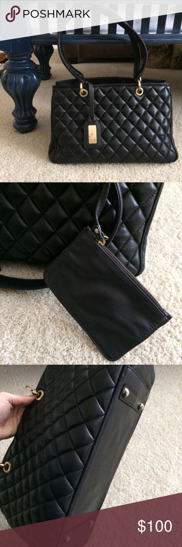 Franchetti Bond quilted leather shoulder bag Italian designer, very high quality leather. Recently had whole bag refinished, flawless black  gently loved, suede interior is clean with a few small blemishes. Gold hardware shows signs of wear, one of the rings is loose. Still works though. Franchetti Bond Bags Shoulder Bags