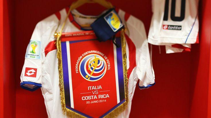 A match shirt worn by Bryan Ruiz of Costa Rica hangs in the dressing rooom