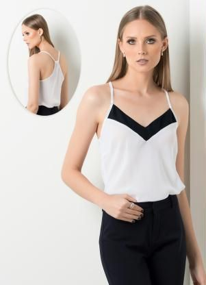 Blusa de Alça com Leve Transparência Branca - Posthaus